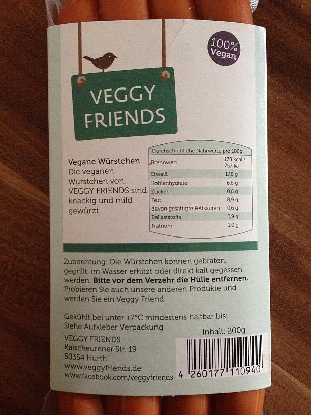 Veggy Friends Würstchen Classic (Rückseite)