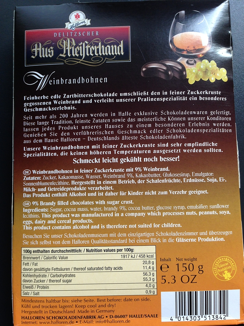 Halloren - Aus Meisterhand Weinbrandbohnen (Rückseite