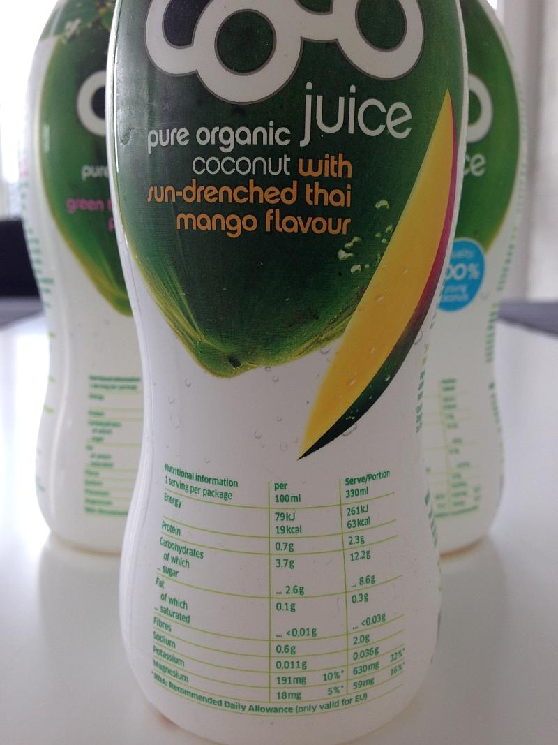 Coco Juice Mango Nährwerte