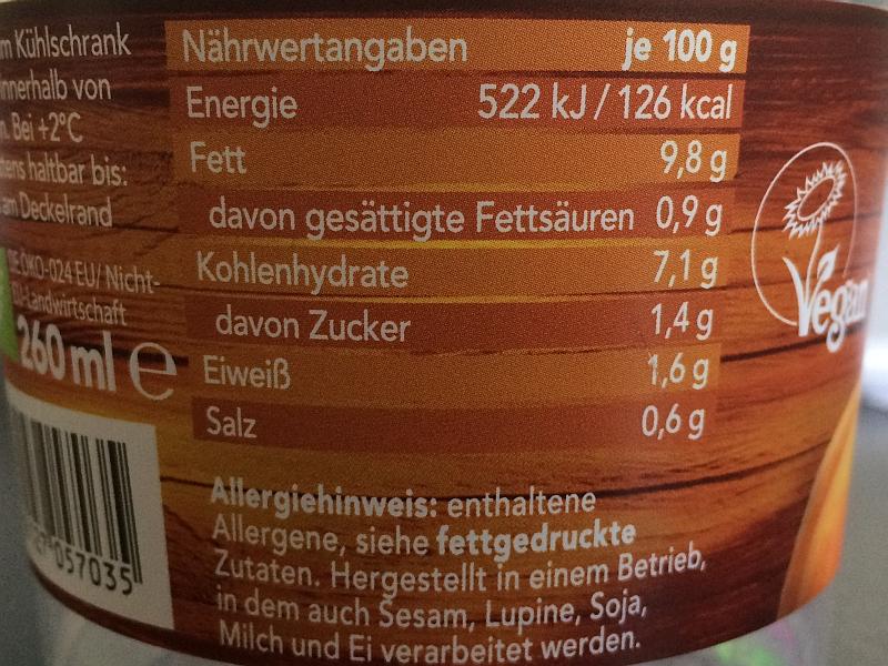 Roggenkamp Organics Nährwerte Kuerbis-Kokos-Suppe