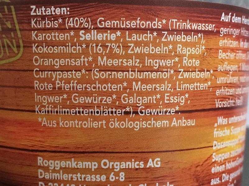 Roggenkamp Organics Zutaten Kuerbis-Kokos-Suppe