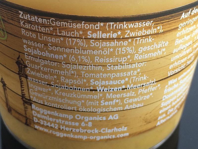 Roggenkamp Organics Zutaten Tandoori-Linsen-Suppe