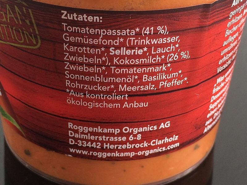 Roggenkamp Organics Zutaten Tomaten-Kokos-Suppe