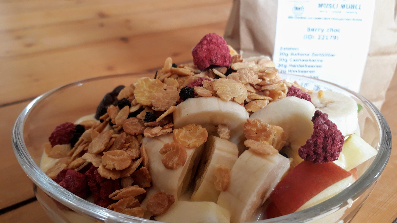 Unsere Eigenkreation Berry Choc mit viel Obst